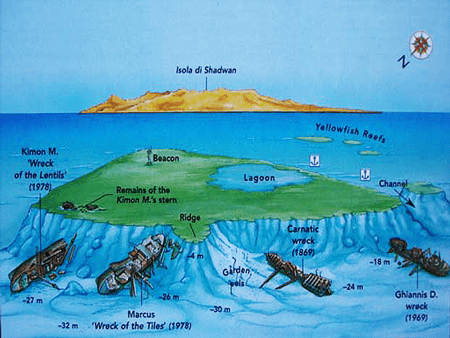Dive map of Abu Nuhas