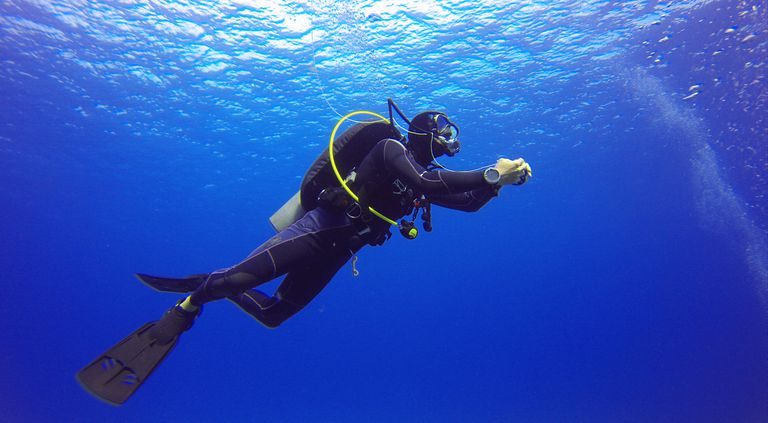 solo scuba diver in the water